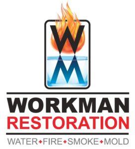 Workman Restoration Logo - water, fire, smoke, mold